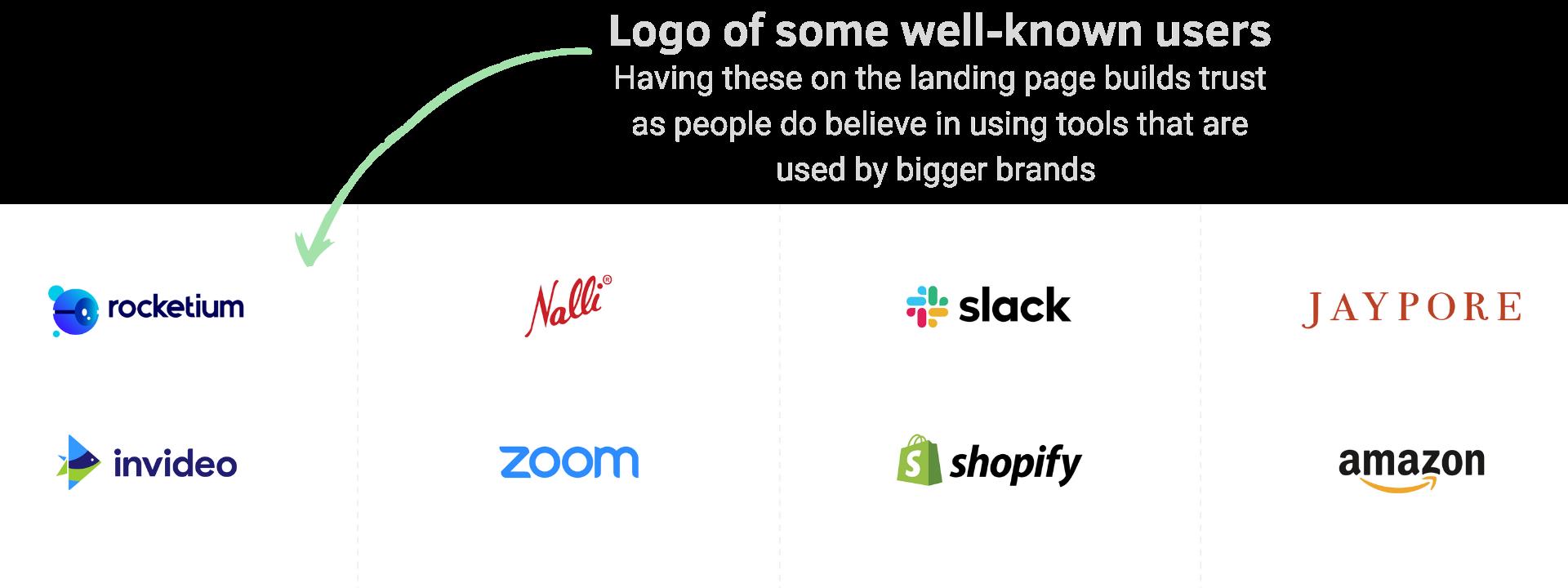 Brands logo on landing page
