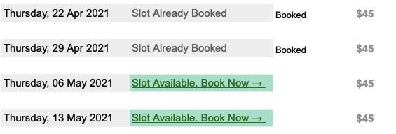 booking sheet