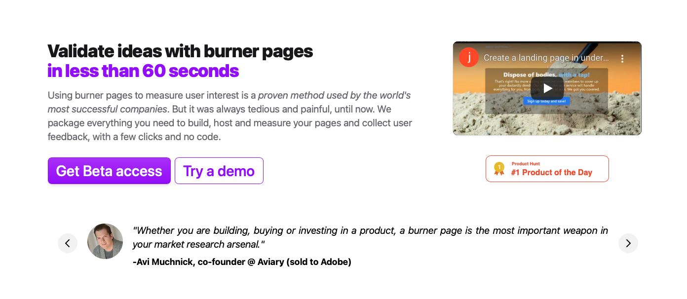 Burner Page